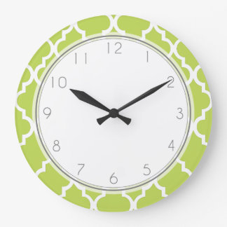Kiwi Green Quatrefoil Pattern Large Clock