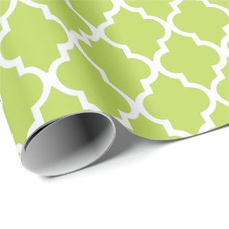 Kiwi Green Quatrefoil Tiles Pattern Wrapping Paper