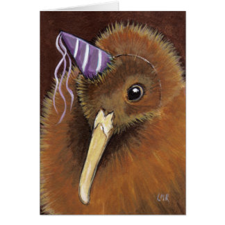 Kiwi in a Party Hat - Bird Art Personalizable Card