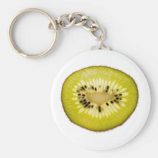 Kiwi slice basic round button key ring