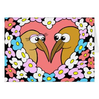 Kiwi Valentine with flowers Greeting Card