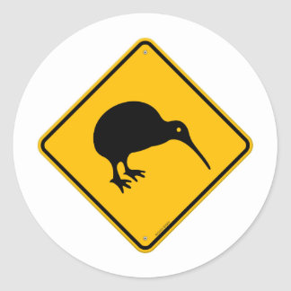 Kiwi Yellow Sign Classic Round Sticker