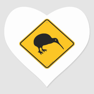 Kiwi Yellow Sign Heart Sticker