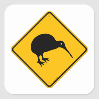 Kiwi Yellow Sign Square Sticker