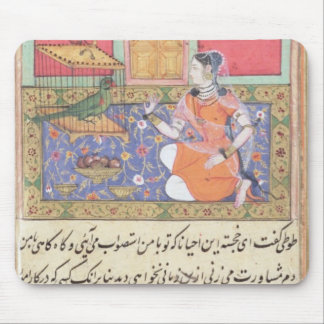 Kjujista, the Merchant's Wife, talking to a Parrot Mouse Mat
