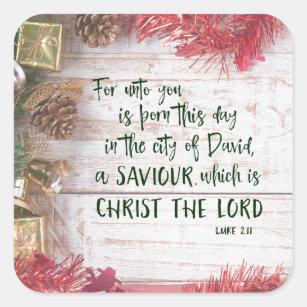 KJV Luke Bible Verse Christmas Square Sticker