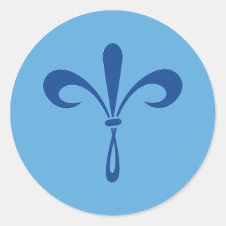 KKG Fleur de Lis: Deep Blue Classic Round Sticker