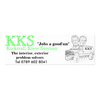 KKS white van fin KKS Jobs a good un Tel 0 Business Cards