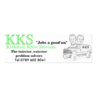 "KKS white van fin, KKS, ""Jobs a good'un"", Tel 0... Business Cards"