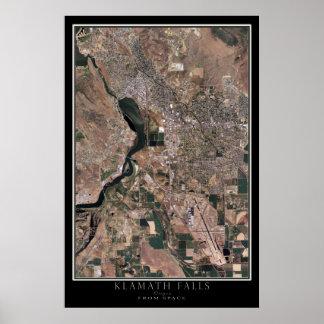 Klamath Falls Oregon From Space Satellite Map Poster