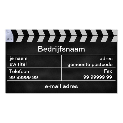 klap bioscoop business card templates