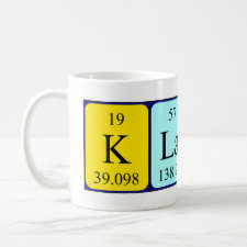 Mug featuring the name Klaus spelled out in symbols of the chemical elements
