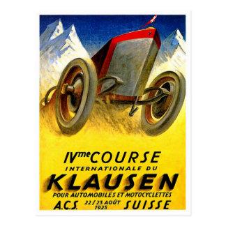 Klausen Race ~ Vintage Automobile Ad Postcard
