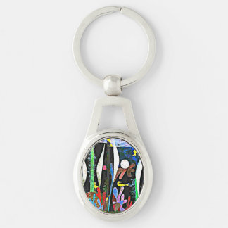 Klee - Landscape with Yellow Birds Silver-Colored Oval Key Ring