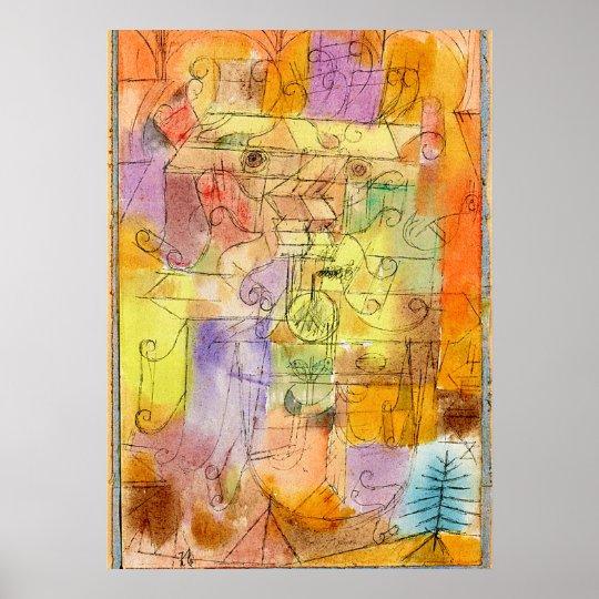 Klee -Unfinished Landscape Framed in Cerulean Blue Poster