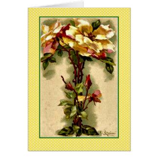 Klein alphabet letter t yellow roses card