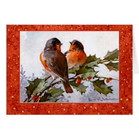 Klein Christmas Robins on Green Holly Red Berries Card