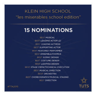 Klein Drama Nominations for Tommy Tunes 2015 Award Poster