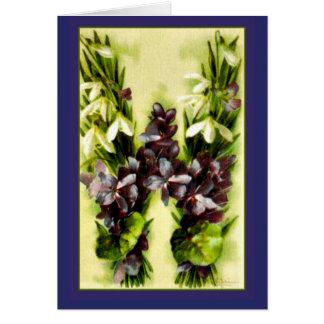 Klein Flower Alphabet Blue Violets Letter W Card