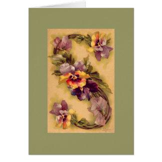 Klein Flower Alphabet S -- NOTE CARD DKGR