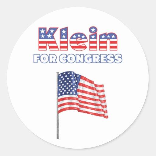 Klein for Congress Patriotic American Flag Design Round Stickers