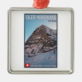 Kleine Scheidegg - The North Wall of the Eiger Silver-Colored Square Decoration