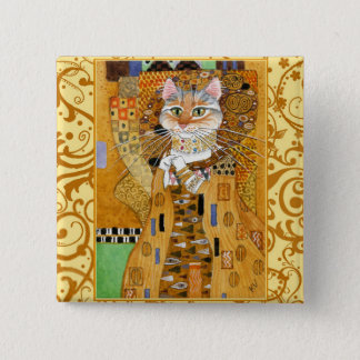 Klimt Cat in Gold square pinback 15 Cm Square Badge