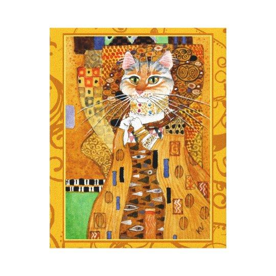 Klimt Cat Woman in Gold art spoof Canvas