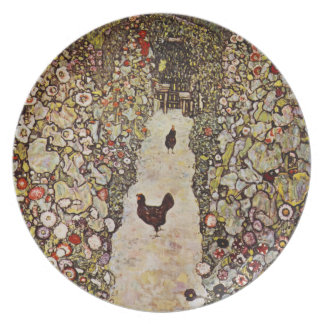 Klimt Garden With Roosters Plate