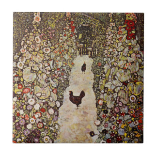 Klimt Garden With Roosters Tile