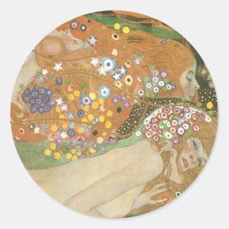 Klimt, Gustav: Wasserschlangen (Freundinnen) II Round Sticker