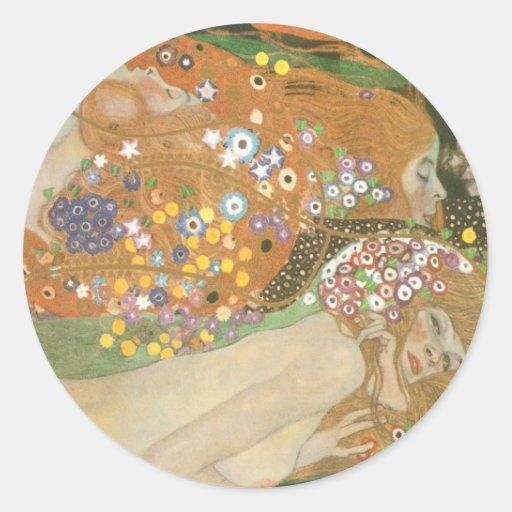 Klimt, Gustav: Wasserschlangen (Freundinnen) II Round Stickers