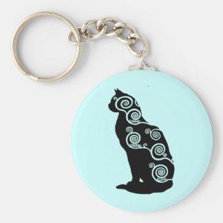 Klimt style cat basic round button key ring