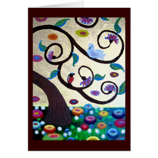 Klimt tree with birds card