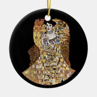 Klimt's Portrait of Adele Bloch-Bauer Round Ceramic Decoration