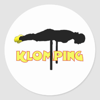 Klomping silhouette round sticker