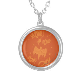 KLONK POW Bat Symbol Graphic Silver Plated Necklace