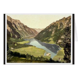 Klonthal Lake, general view, Glarus, Switzerland v Greeting Card