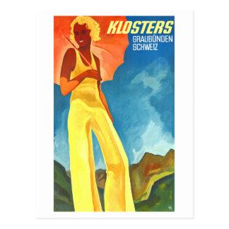 Klosters Graubunden Switzerland Vintage Postcard