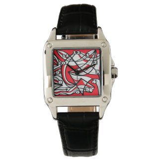 """Klutz"" Square Black Leather Watch"