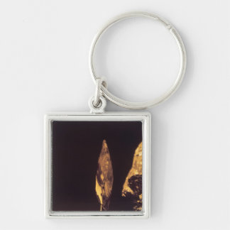 Knapped axe or spear head Silver-Colored square key ring