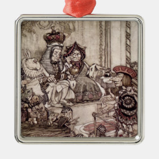 Knave before the King and Queen of Hearts Christmas Ornament