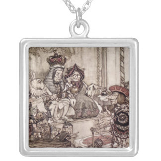 Knave before the King and Queen of Hearts Silver Plated Necklace