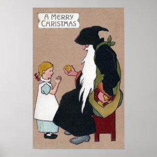 Knecht Ruprecht Vintage German Christmas Folklore Print