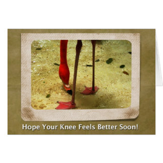 Knee Surgery Get Well Soon Pink Flamingo Note Card