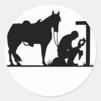 Kneeling Cowboy Classic Round Sticker