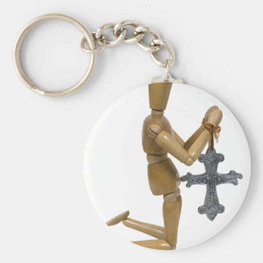 KneelPraySilverCross121909 Key Ring