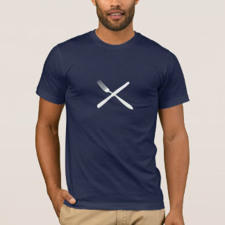 knife and fork on dark shirt