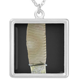 Knife carved with battle scenes silver plated necklace