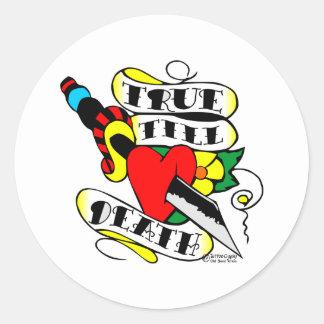 Knife Thru Heart True Till Death Old Skool Tattoo Round Sticker
